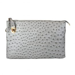 0714-80-26 Large Ostrich Crossbody Silver back view