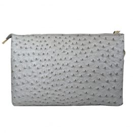 Large Ostrich Crossbody Silver back view