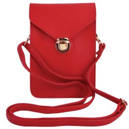 Phone Crossbody Pouch Red with Crossbody Strap