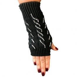 LG270-011 Cable Knit Texting Gloves Black