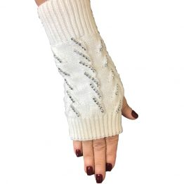 Ivory Cable Knit Texting Gloves