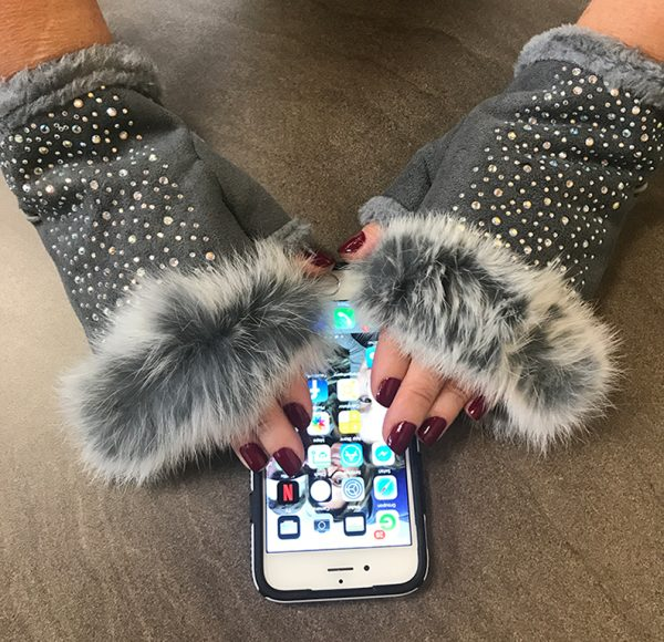 LG315-012 Fur Bling Texting Gloves