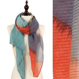 9169-012 Rust Pleated Tie Dye Scarf