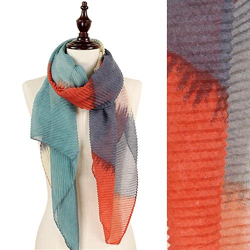 9169-012 Rust Pleated Tie Dye Scarf