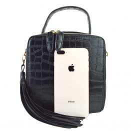 90526-028 Crocodile Crossbody Black with phone