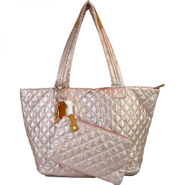 10605-034 Quilted Tote Blush