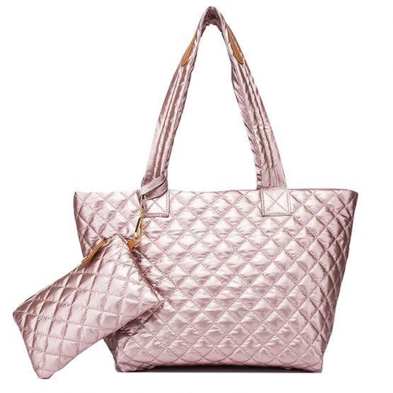 10605-034 Quilted Tote Metallic Rose Gold