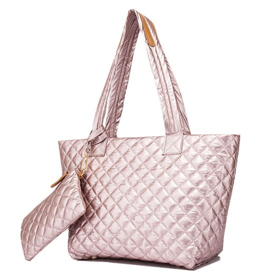 10605-034 Quilted Tote Metallic Rose Gold2