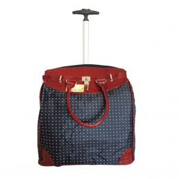 Polka-Dot-059 Rolling Tote Bag Red