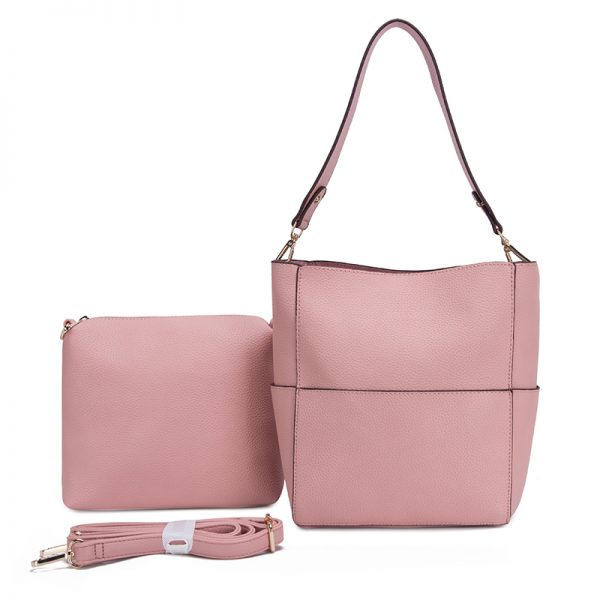 Blush with interior pouch and crossbody strap