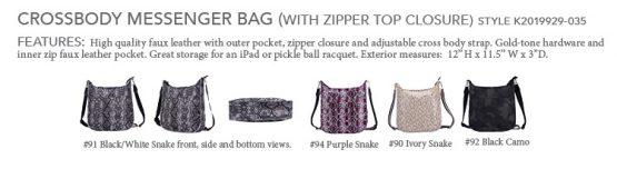 K2019929-035-CB Messenger with Zipper Top Closure