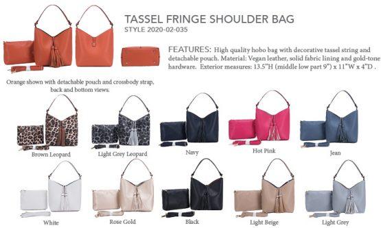 2020-02-035 Tassel Fringe Shoulder Bag